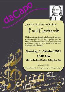 Ich bin ein Gast auf Erden – Paul-Gerhardt-Konzert am 2. Oktober 2021